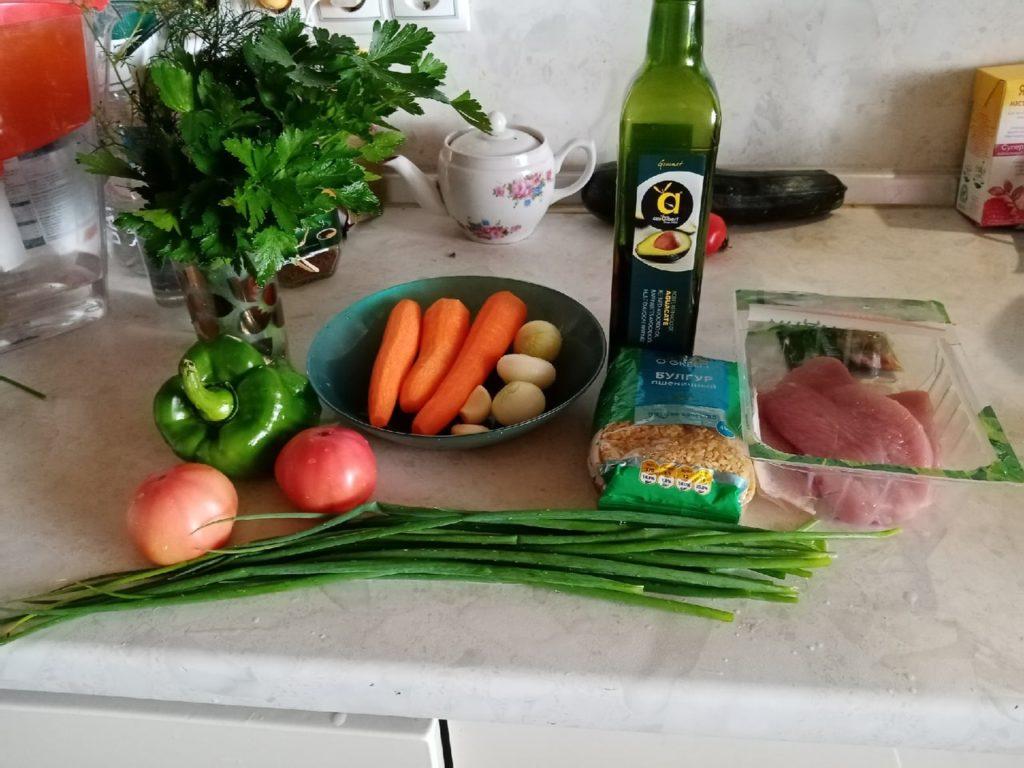 Булгур с овощами и ароматным и травами